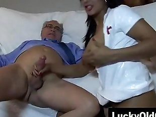 old man fucks Indian girl in sexy nurse outfit -..