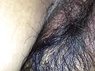 Hairy wife in black bra & tight asshole enjoying..