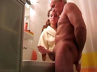 Granddaughter help her grand father cum shoot -..